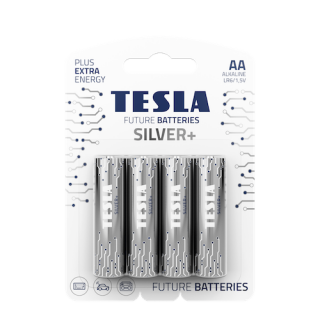 Tesla Future Silver+ AA Alkaline Heavy Duty Batteries - 4 Pack