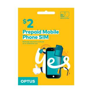Optus $2 Prepaid Sim Card Starter Kit Pack
