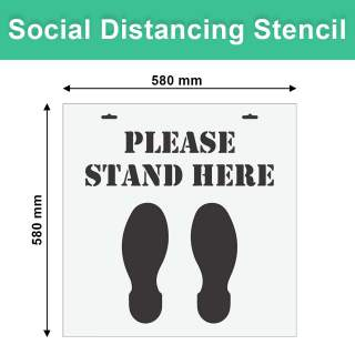 Social Distancing Floor Marking Stencil Warehouse Carpark Outdoor - Please Stand Here