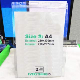 A4 Vinyl Document Wallet File Permit Certificate Protector Holder Clear Vertical Portrait Zip Lock Press Seal