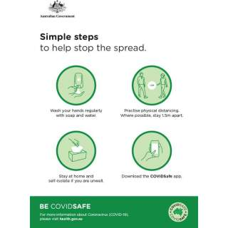 Social Distancing Entrance Wall Poster / Window Door Sticker / Corflute Sign - Four Simple Steps to Help Stop the Spread