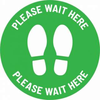 Social Distancing Floor or Carpet Sticker Indoor or Outdoor Marking Sign Decal - Please Wait Here