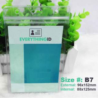 B7 Vinyl Card Holder Clear Vertical Portrait Zip Lock Press Seal