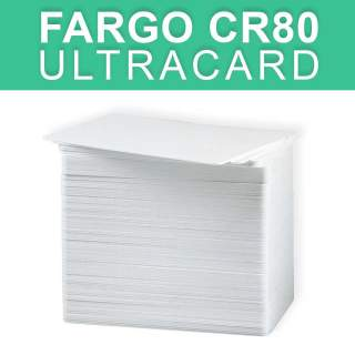 HID Fargo UltraCard CR80 10mil Thin PVC Plastic Blank White Card