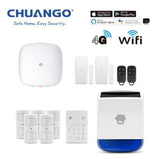 Chuango H4-LTE WiFi & 4G Wireless DIY Smart Home Office Security Alarm Deluxe Kit + Solar Siren