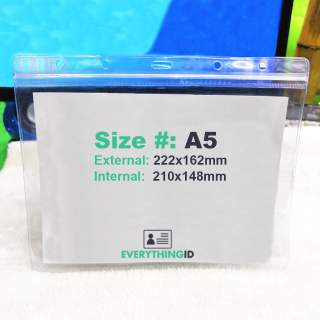 A5 Vinyl Brochure Card Holder Clear Horizontal Landscape Zip Lock Press Seal
