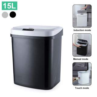 Small Motion Sensor Smart Trash Can Hands Free Opening Lid Rubbish Bin 15L Black Grey