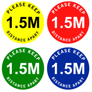 Social Distancing Floor or Carpet Sticker Indoor or Outdoor Marking Sign Decal - Please Keep 1.5m Distance Apart